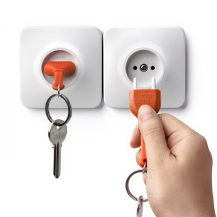 Ключница настенная и брелок для ключей Unplug Qualy Оранжевый / Белый