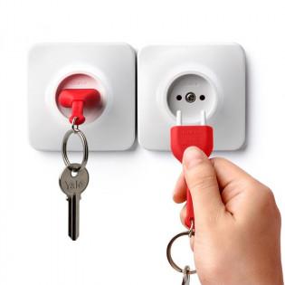 Ключница настенная и брелок для ключей Unplug Qualy Красный / Белый