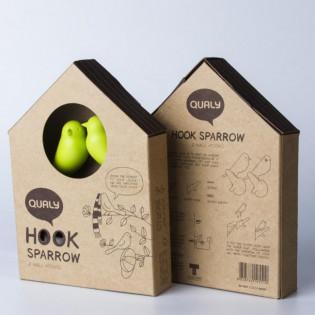 Крючки настенные Hook Sparrow Qualy Коричневый / Белый