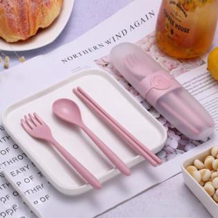 Набор столовых приборов Travel Eco-Wheat #2 Be Different Розовый