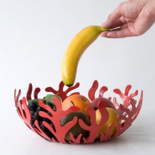 Фруктовница (ваза для фруктов) Mediterraneo Alessi 25 см Красная