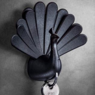 Ключница настенная Peacock Qualy Черная / Черная