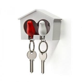 Ключница настенная и брелки для ключей Duo Sparrow Qualy Белый / Белый / Красный