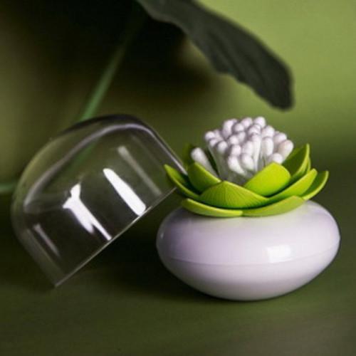 Подставка для ватных палочек Lotus Cotton Bud Qualy Белая / Зеленая