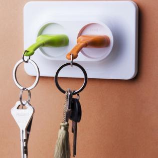 Ключница настенная и брелки для ключей Double Unplug Qualy Зеленый / Оранжевый / Белый