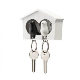 Ключница настенная и брелки для ключей Duo Sparrow Qualy Белый / Белый / Черный