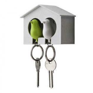 Ключница настенная и брелки для ключей Duo Sparrow Qualy Белый / Белый / Зеленый