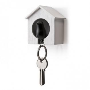 Ключница настенная и брелок для ключей Sparrow Qualy Белый / Черный