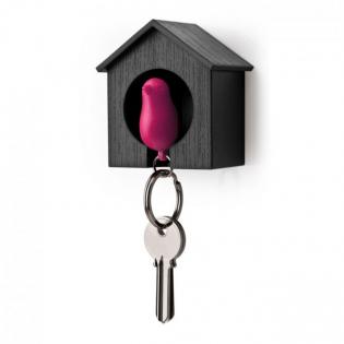 Ключница настенная и брелок для ключей Sparrow Qualy Черный / Розовый