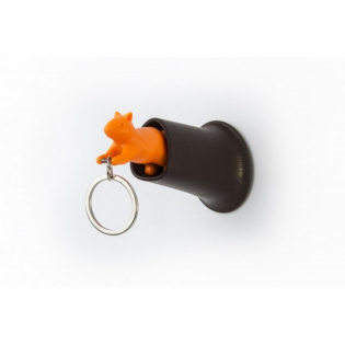 Ключница настенная и брелок для ключей Squirrel Qualy Коричневый / Оранжевый