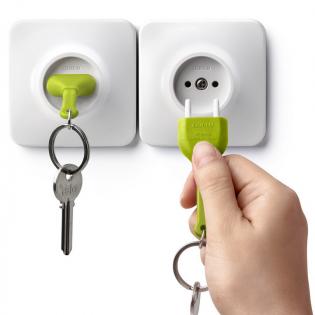 Ключница настенная и брелок для ключей Unplug Qualy Зеленый / Белый