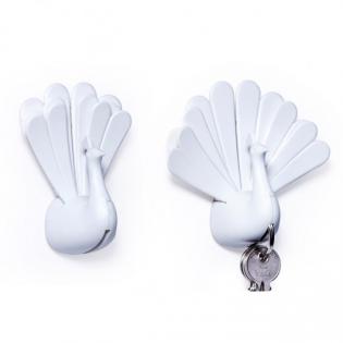 Ключница настенная Peacock Qualy Белая / Белая