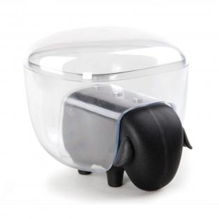 Контейнер для хранения ватных палочек и дисков Sheepshape Cotton Box Qualy Черный / Прозрачный