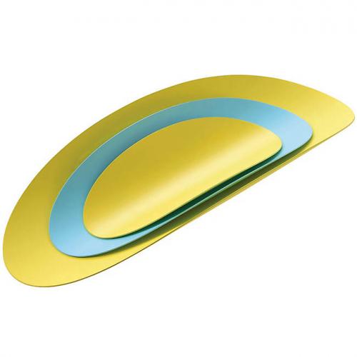 Набор подносов 3 шт. Ellipse Alessi Желтый / Бирюзовый
