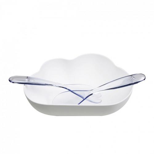 Салатница с ложками для сервировки Cloud Qualy Белая / Прозрачная