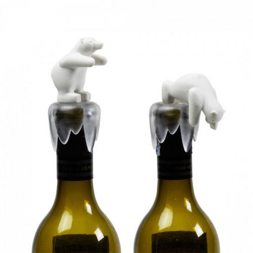 Стоппер для бутылки Bottoms Up Bear Qualy Белый